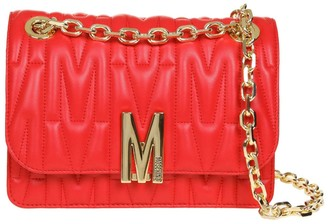 Moschino M Quilted Crossbody Bag In Red Quilted Leather