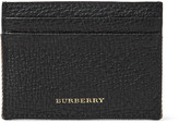 Burberry Full-grain Leather And Checked Cotton-twill Cardholder - Black