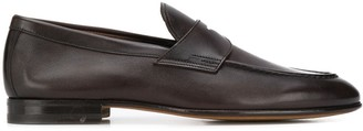 Santoni strap detail leather loafers