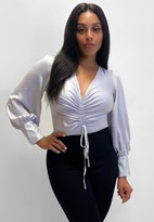 Missguided Plus Size Gray Satin Ruched Plunge Long Sleeve Bodysuit