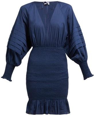 Rhode Resort Anya Smocked Cotton-poplin Mini Dress - Womens - Navy