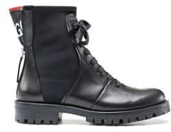 HUGO BOSS Italian-leather boots with counter logo