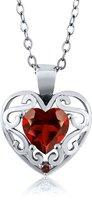 Gem Stone King 0.91 Ct Heart Shape Garnet Sterling Silver Pendant