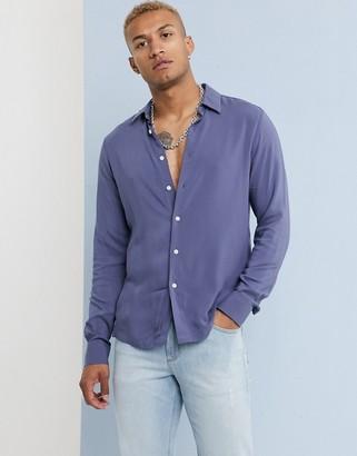 Asos Design DESIGN regular fit viscose shirt in dusty blue