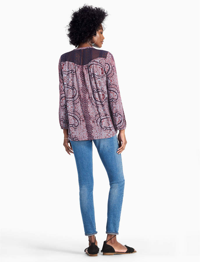 Lucky Brand Lace Yoke Peasant Top
