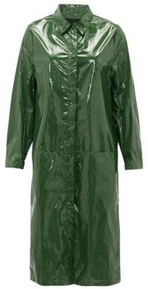 Sara Lanzi Point-collar Pvc Raincoat - Womens - Green
