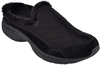Easy Spirit Travel Fuzz Faux Fur Trim Winter Mule - Wide Width Available
