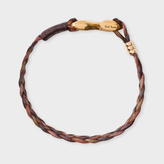 Paul Smith Men's Brown Five-Strand Plaited Leather Bracelet