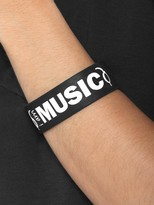 Peace Love World I am Music Black Wide Silicone Bracelet