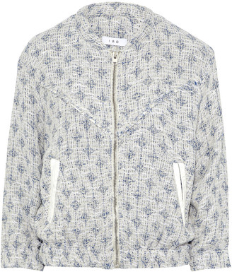 IRO Leather-trimmed Cotton-blend Tweed Bomber Jacket