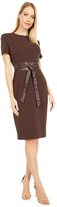 Calvin Klein Short Sleeve Dress with Faux Leather Waist and Belt (Coffee Bean) Women's Dress