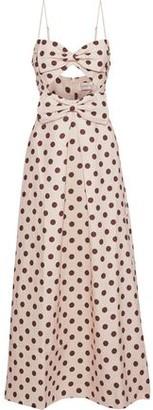 Zimmermann Corsage Bow Cutout Polka-dot Linen Maxi Dress