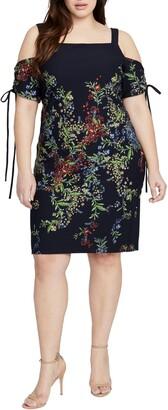 Rachel Roy Floral Tie Sleeve Cold Shoulder Sheath Dress