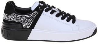 Balmain B-court Sneakers In Leather White / Black