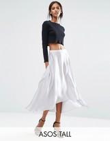 ASOS Tall ASOS TALL Midi Skirt in Satin with Splices
