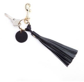 ROYCE New York Leather Tassel Key Fob with Gold Hardware
