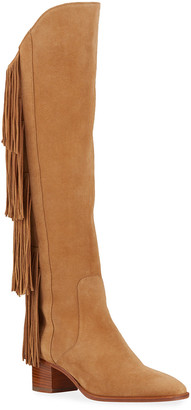 Christian Louboutin Lion Suede Fringe Red Sole Boots