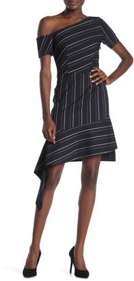 HUGO Kaloras Striped One-Shoulder Dress