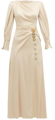 Peter Pilotto Crystal-brooch Draped Hammered-satin Dress - Womens - Cream