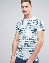Solid T-Shirt With Palm Print Stripes
