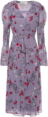 Diane von Furstenberg Ani Pleated Floral-print Chiffon Wrap Dress