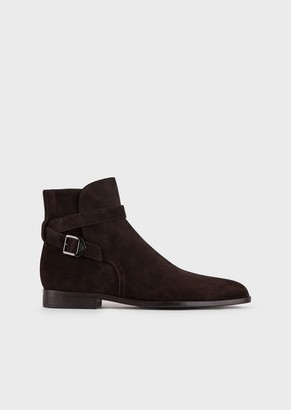 Emporio Armani Faded Suede Ankle Boots With Strap