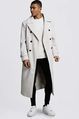 boohoo Longline Oversized Double Breasted Overcoat