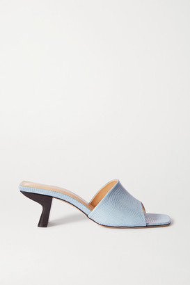 BY FAR Lily Lizard-effect Leather Mules - Sky blue