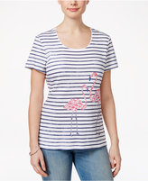 Karen Scott Striped Flamingo-Print Top, Created for Macy's