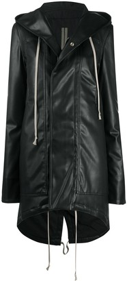 Rick Owens Faux-Leather Hooded Coat
