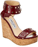 Jimmy Choo Nelly 120 Studded Shiny Leather Wedge Sandal