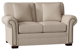 "Craftmaster Adrena 63"" Rolled Arm Loveseat Body Fabric: Bamboo 10, Throw Pillow Fabric: Bamboo 10, Nailhead Detail: Dark Brass, Arm Covers: No"