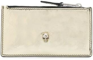 Alexander McQueen metallic Skull zipped wallet