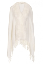 Quiz White Faux Fur Collar Cape
