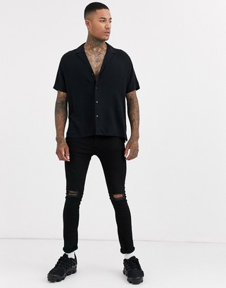 ASOS DESIGN relaxed fit viscose shirt with low revere collar in black