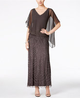 J Kara Beaded V-Neck Capelet Gown