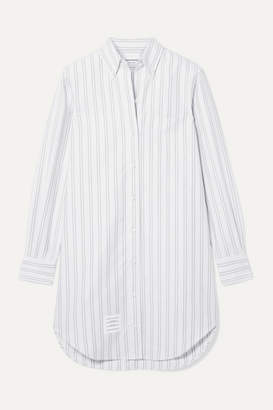Thom Browne Striped Cotton Oxford Mini Dress - White