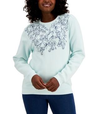 Karen Scott Necklace Bloom Fleece Top, Created for Macy's