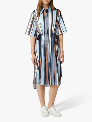 French Connection Byatt Drape Stripe Shirt Dress, Utility Blue/Multi