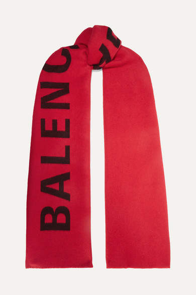 Balenciaga Intarsia Wool Scarf - Red