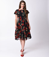 Unique Vintage 1940s Style Black & Red Rose Formosa Swing Dress