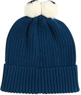 Stella McCartney Cotton & Wool Beanie Hat W/ Pompom Eyes