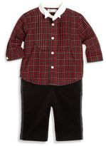Ralph Lauren Baby's Two-Piece Plaid Tuxedo Shirt & Velvet Pants Set