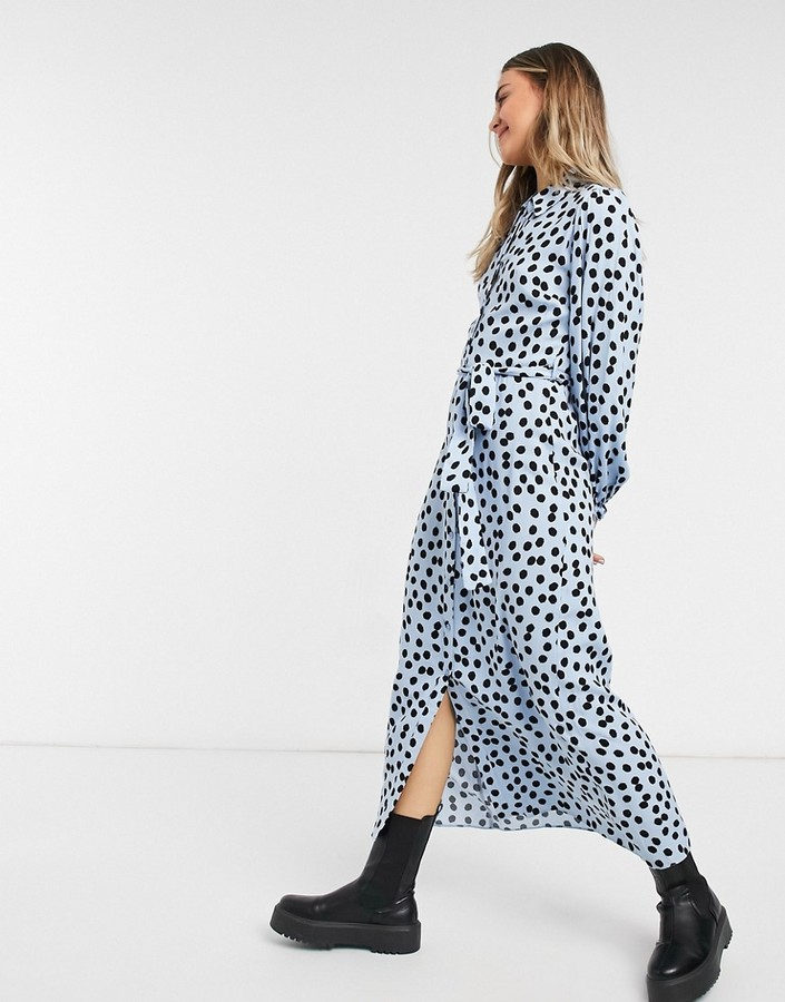 Thumbnail for your product : New Look belted midaxi shirt dress in blue polka dot