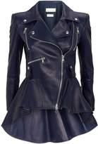 Alexander McQueen Leather PeplumBiker Jacket