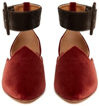 Le Monde Beryl Brick & Mole Grey Velvet Ankle Strap Slipper