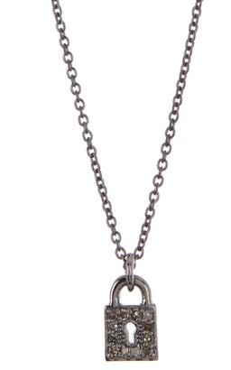 ADORNIA Mini Lock Diamond Necklace - 0.10 ctw