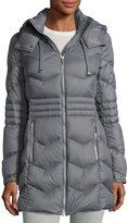 French Connection Quilted Puffer Hooded Coat, Gray