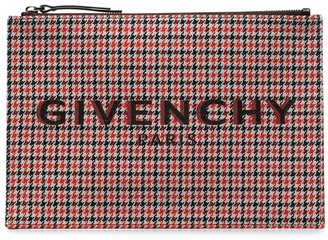 Givenchy Signature-Print Houndstooth Clutch
