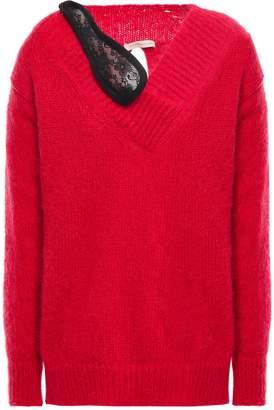 Christopher Kane Split-back Lace-trimmed Mohair-blend Sweater